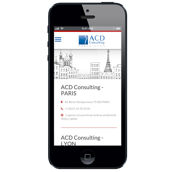 Page contact du site web ACD Consulting